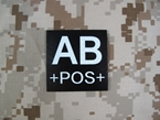Picture of Warrior AB POS Blood Type Patch IR Reflective (Free shipping)